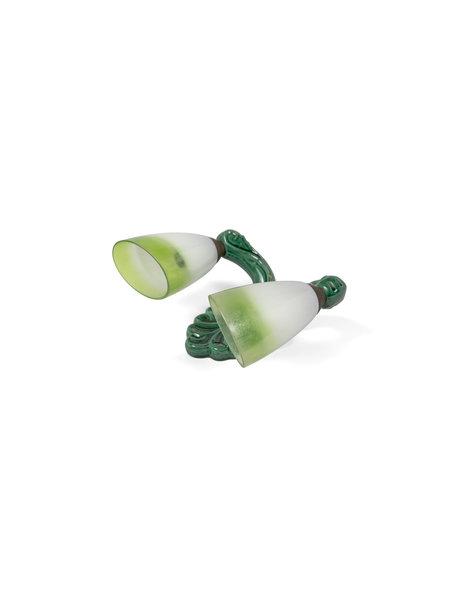 Groen keramieken wandlamp met glazen kapjes