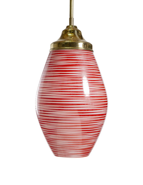Long hanging lamp, red glass on a gold coloured pendulum, 1960s