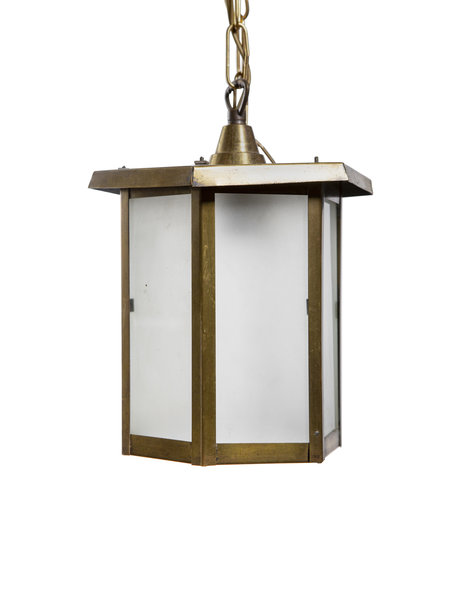 Koperen Ganglamp met mat glazen ruitjes