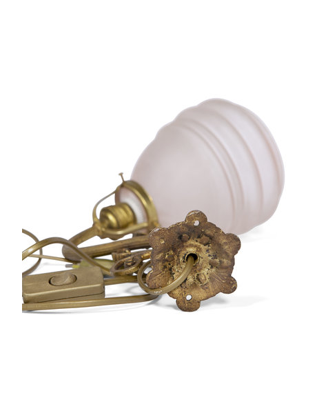 Copper wall lamp with classic pink glass shade