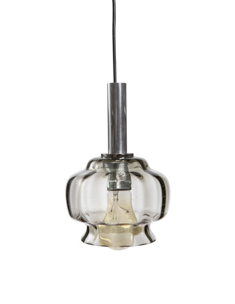 pendant lamp, smoked glass chalice, ca.1950
