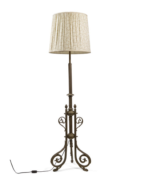 Standing shaded lamp, 165 cm (65.0 inch) high, fabric lampshade, circa 1940