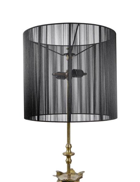 Antique floor lamp, solid bronze upright, fabric lampshade, ca.1930