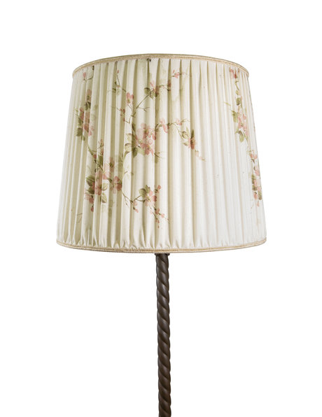 Landelijke vloerlamp, brons armatuur en stoffen lampenkap, ca. 1950