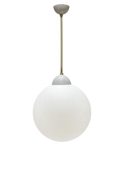 Industrial Pendant Lamp, White Sphere on Pendulum, 40s