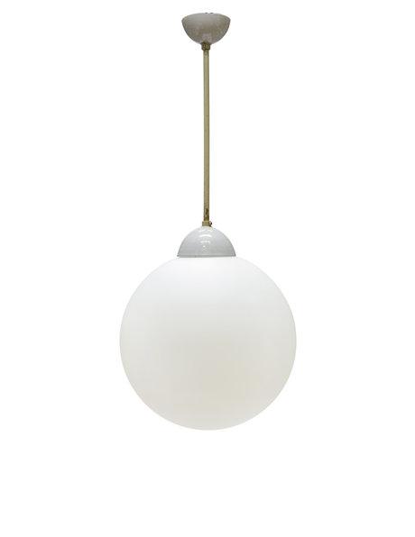 Industriele hanglamp aan pendel, metaal met matglazen kap