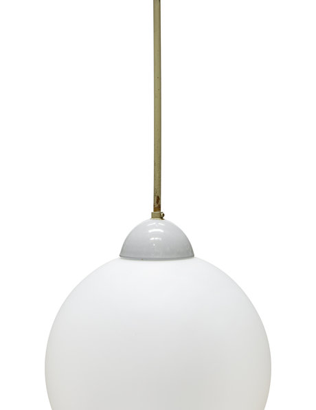 Industrial hanging lamp with pendulum and white glass sphere