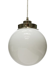 Pendant Lamp, White Sphere on a Cord