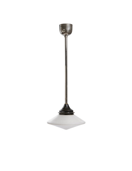 Industrial hanging lamp, glass lampshade on a long pendant, circa 1940