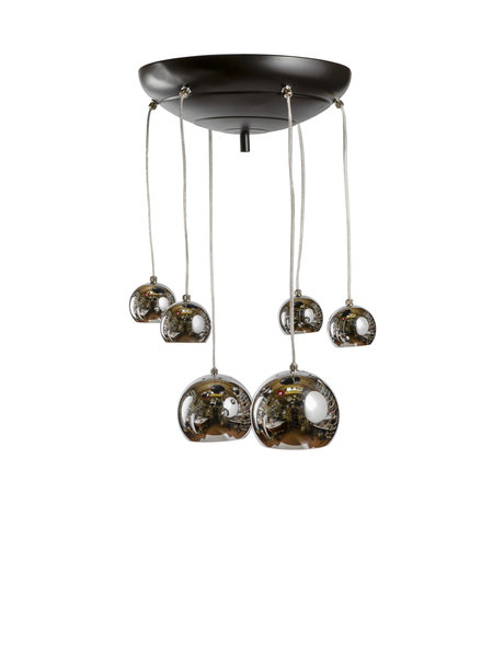 Hanging lamp, chrome-colored cascade