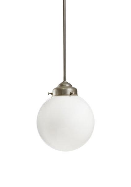 Strakke Zilver-Witte Hanglamp, jaren 40