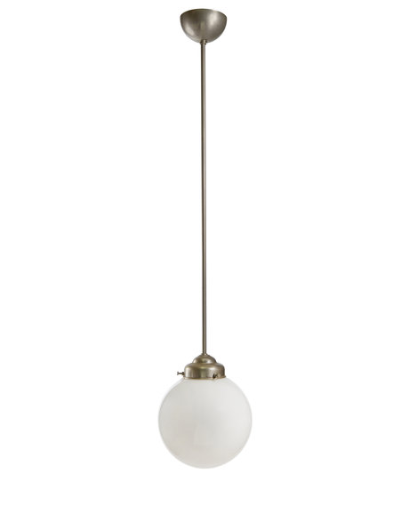 Sleek hanging lamp, silver pipe with white glass sphere, 40s
