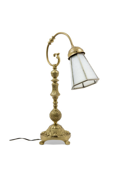 Copper table lamp with glass shade, glass has mother-of-pearl shine