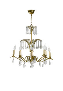 Chandelier, Glass with Copper Fixture