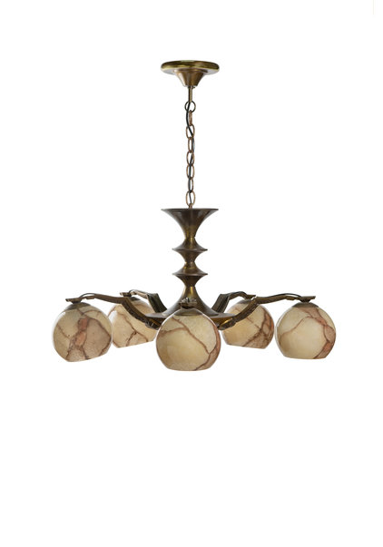 Jaren 50 Hanglamp Koperen Spin