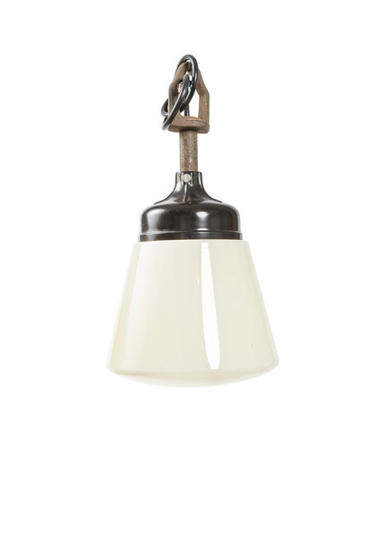 Industrial Hanging Lamp, Cream Glass