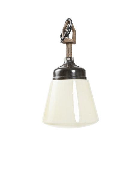 Industrial, bakelite pendant lamp with glass, ca. 1940