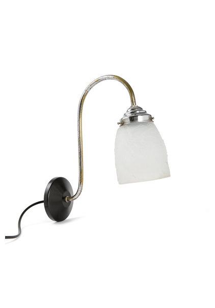 Retro Wall Lamp, Chrome with Matt Glass Shade