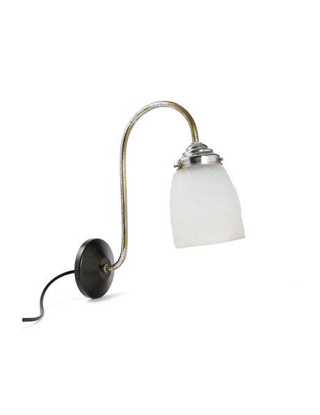 Klassiek wandlampje, chroom armatuur met persglazen kap, ca. 1940