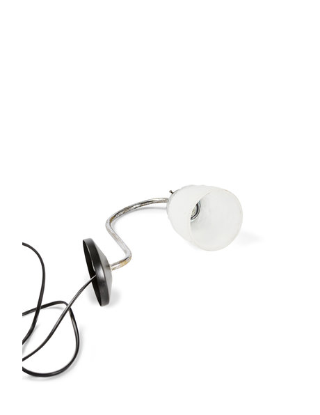 Classic wall lamp, chrome fixture with pressed glass shade, ca. 1940