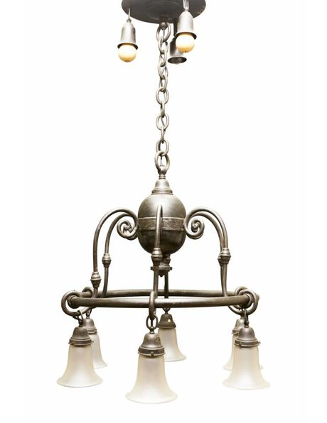 Large hanging lamp, 6 glass shades on a metal wheel, 3 additional light points on the ceiling, 1920s