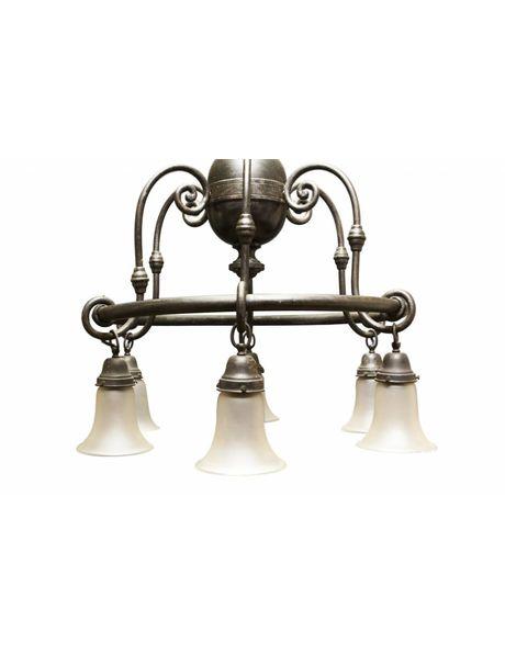 Grote Hanglamp, 6 glazen kappen aan metalen wiel, nog 3 extra lichtpunten tegen plafond, ca. 1920