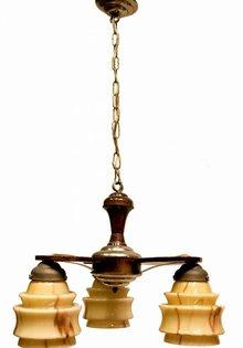 Hanglamp, hout met gemarmerd glas