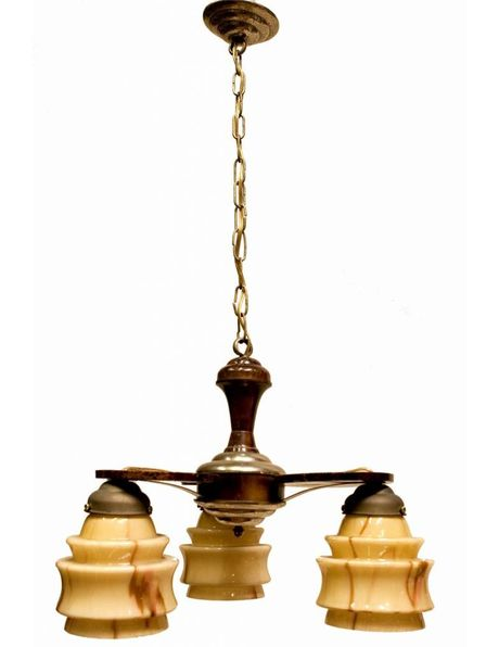 Antique hanging lamp, wood fixture with yellow-brown marbled glass, 1930s