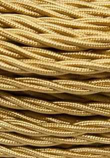 Cloth Covered Lamp Wire, Gold Coloured