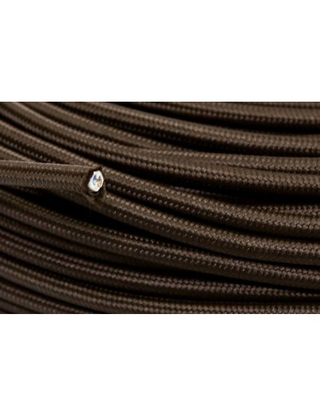 Electrical cord for lamps, brown fabric, round shape