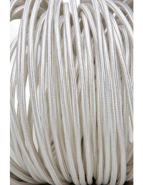 Wit strijkijzersnoer, rond model, met stof omwikkeld