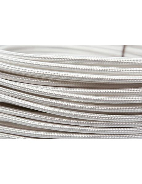 White electrical cord, cloth covered, round model