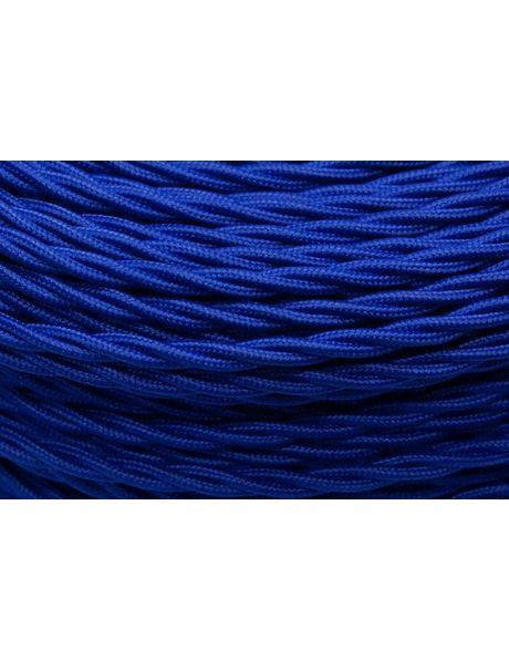 Blue electrical cord, textile covered wire, 3 core, braided