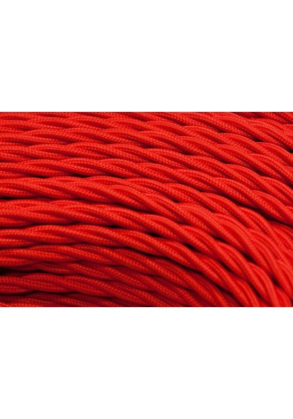 Fabric Lamp Wire, Red, Braided