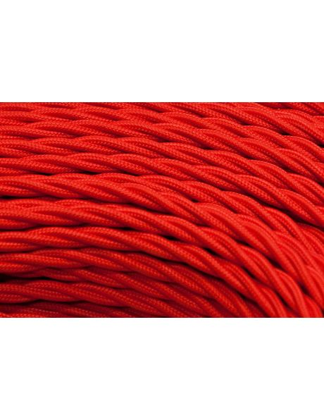 Red electrical cord with cloth cover, braided 3 core wire