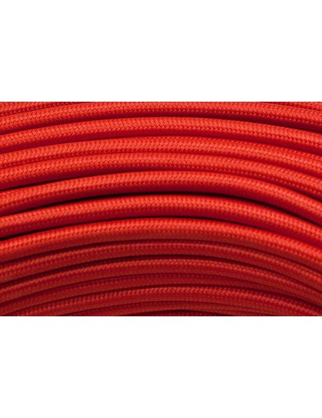 Red textile covered electrical cord, 2 core, round shaped wire