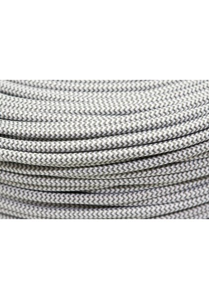 Lamp Wire with Fabric Cover, Colour;  Gray-White, Herringbone Pattern
