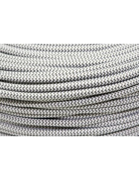 Grey-white fabric electrical cable, herringbone pattern, 2-core wire