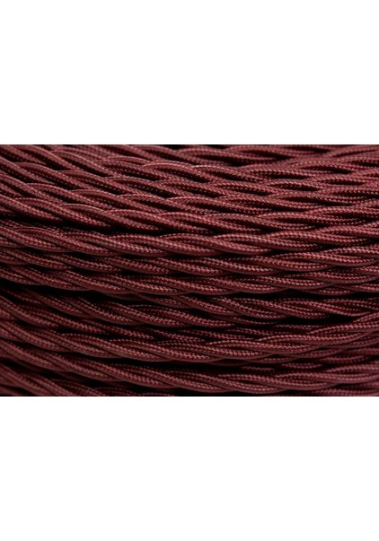 Lamp Wire, with Fabric Cover, Burgundy Red, Braided