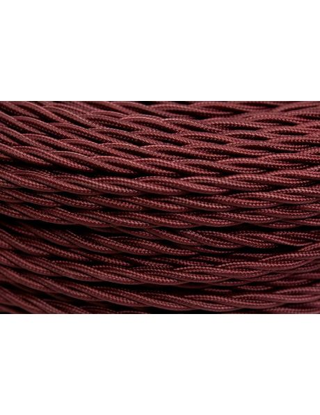 Textile covered electricity cord, burgundy red colour, 3-core wire