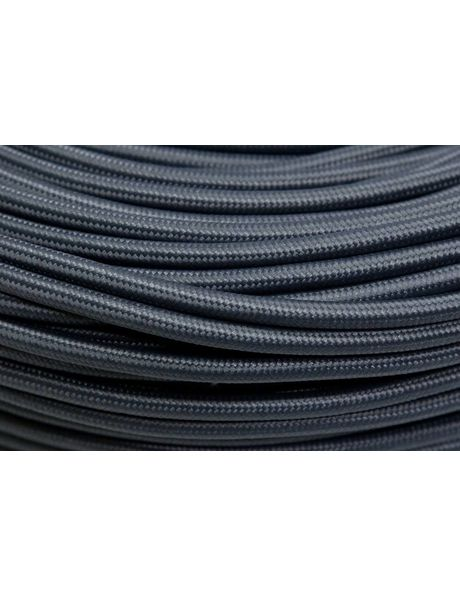 Fabric covered electrical cord, grey, round wire, 2 core