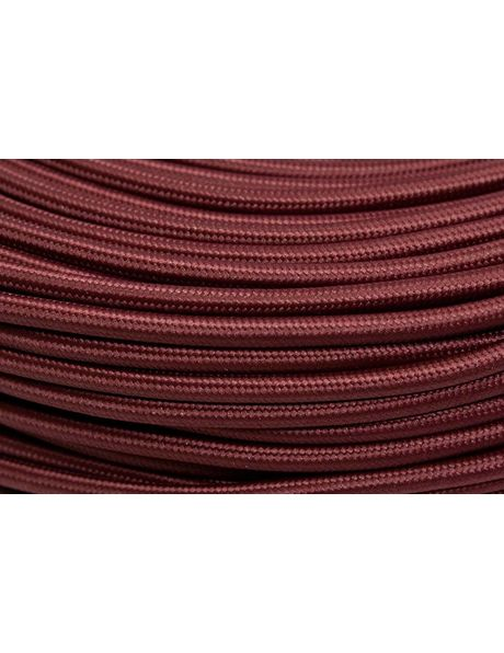 Textile covered electrical cord, burgundy red, round wire, 2-core