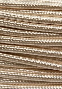 Lamp Wire, with Fabric Cover, for both Irons and Lamps, Ivory Colour