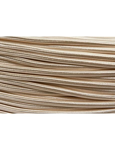 Cloth covered electrical cord, round shape, ivory colour, 2-core