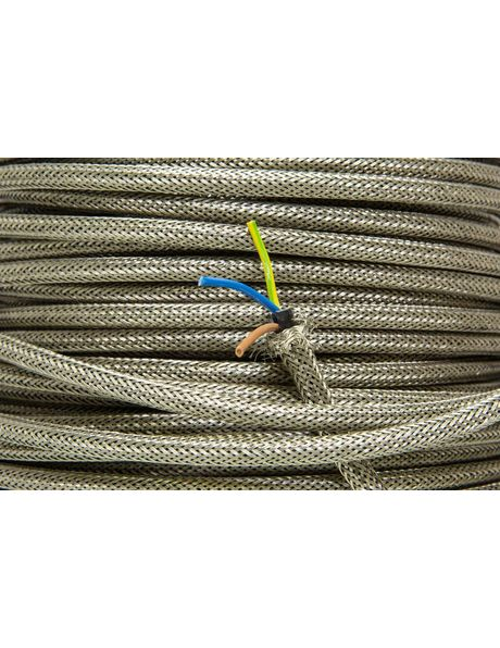 Metal electrical cord, silver coloured, 2 core