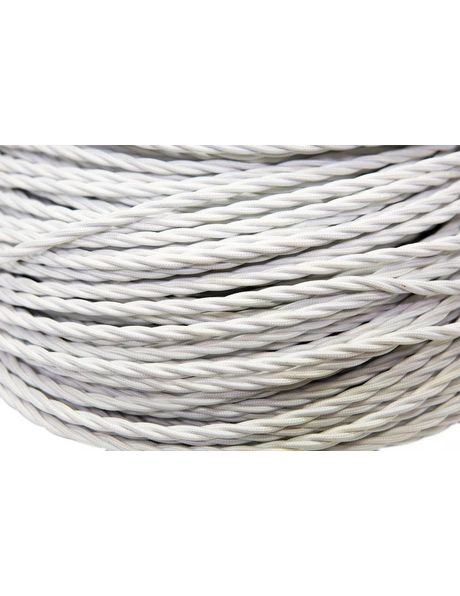 Textile covered electrical cord, white, 3 core