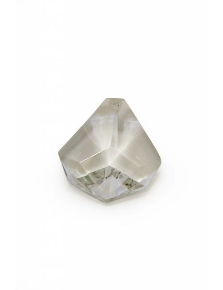 Old crystal bead for chandeliers, triangular shape with facets