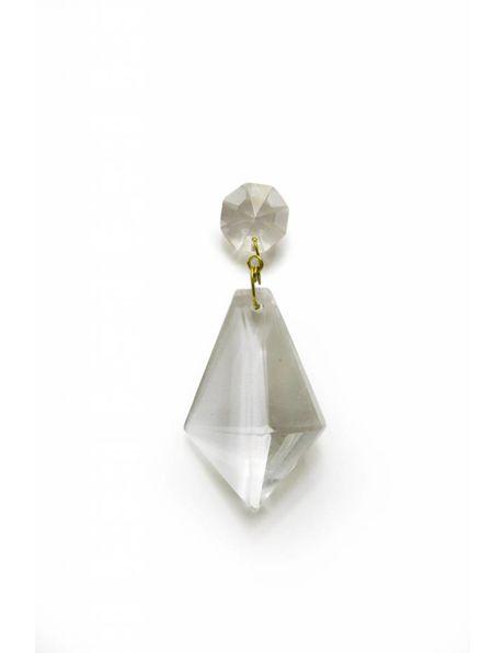 Dubbele kroonluchter kraal, klein kraaltje boven, grotere driehoek onder, helder glas