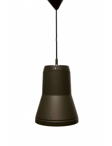 pendant lamp from the 70s, large brown synthetics shade with reflective interior