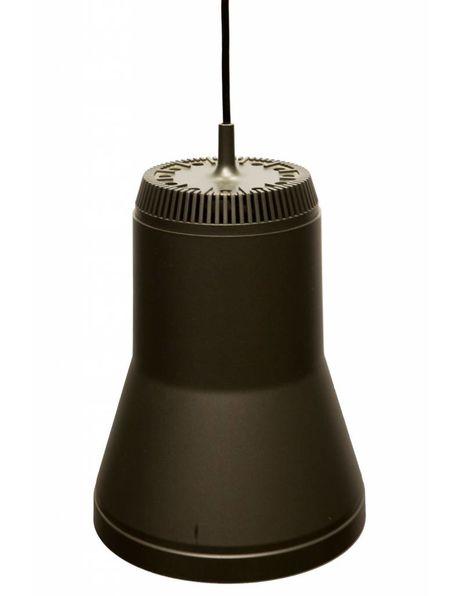 Hanglamp uit de jaren 70, Groot bruine kunststof kap met reflecterend interieur